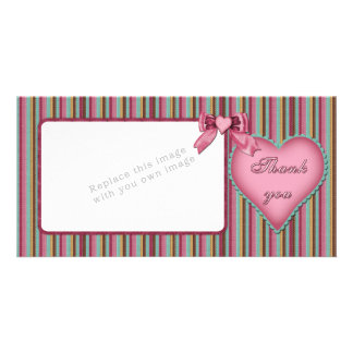 Romantic heart design Thank you Custom Photo Card