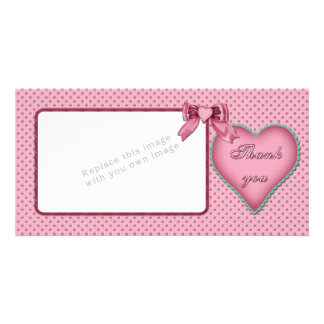Romantic heart design / Thank you Photo Card Template