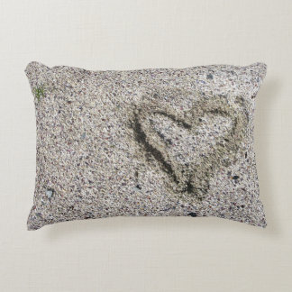 Romantic Heart in Sand Photo Accent Pillow
