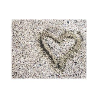Romantic Heart in Sand Photo Canvas Print