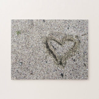 Romantic Heart in Sand Photo Challenge Jigsaw Puzzle