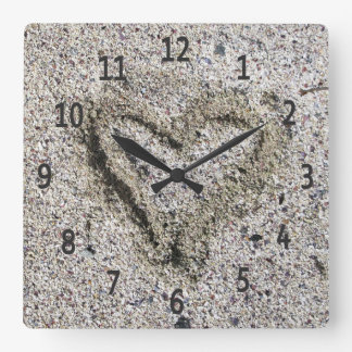 Romantic Heart in Sand Photo Square Wall Clock