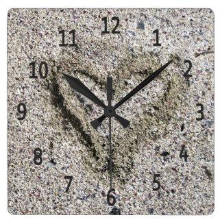 Romantic Heart in Sand Photo Wall Clock