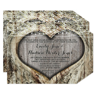 "Romantic Heart In Tree Trunk Forest Wedding 5"" X 7"" Invitation Card"