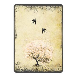Romantic Heart Leaf Pink Tree Love Bird Wedding Card