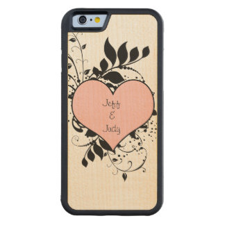 Romantic Heart Love Carved Maple iPhone 6 Bumper Case
