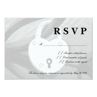 "Romantic heart love lock RSVP wedding cards 3.5"" X 5"" Invitation Card"