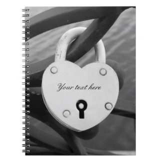 Romantic heart shape love lock photo notebook
