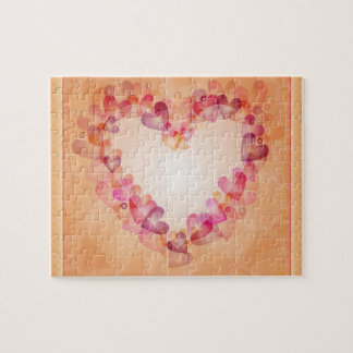Romantic Heart with Hearts Jigsaw Puzzle