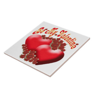Romantic hearts and flowers Tile (2) sizes