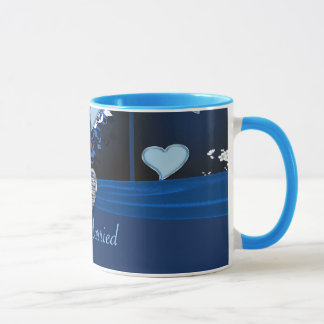 Romantic Hearts In Blue Floral Just Married Mug