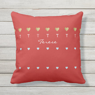 romantic hearts of love red outdoor pillow