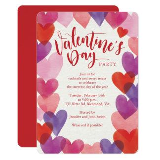Romantic Hearts Valentines Day Party Card