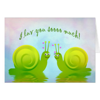 Romantic Humorous Snails in Love - Luv You! Card