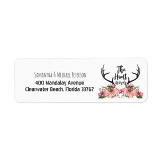 Romantic Hunt is Over Rustic Antler Floral Wedding Return Address Label
