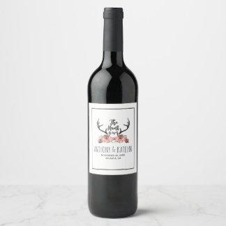 Romantic Hunt is Over Rustic Antler Floral Wedding Wine Label