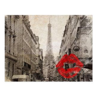 romantic impressionism france paris eiffel tower postcard