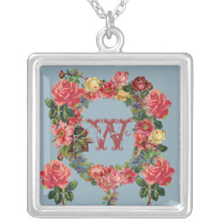Romantic Initial Necklace with Roses