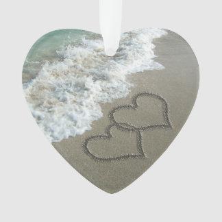 Romantic Interlocking Hearts on Beach