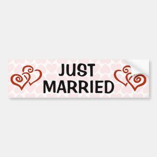 Romantic Intertwined Heart Pattern Just Married Bumper Sticker