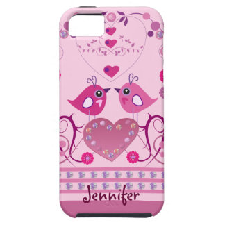 Romantic iPhone 5 Case with Love Birds & name