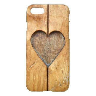 Romantic iPhone 7 Case with heart on wooden