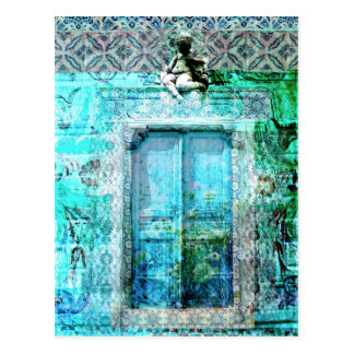 Romantic Italian Renaissance Door with angel Postcard