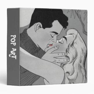 Romantic Kiss Pop Art in Grays Vinyl Binder