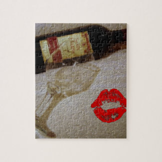 Romantic kiss Red wine glasses I Love Wine Jigsaw Puzzle