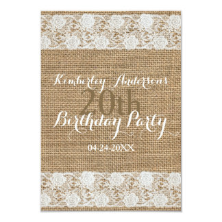 Romantic Lace and burlap 20th Birthday Party Card