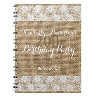 Romantic Lace burlap 20th Birthday Guest Book Spiral Note Book