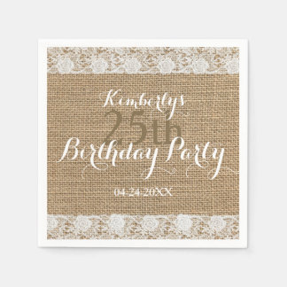Romantic Lace burlap 25th Birthday Paper Napkins