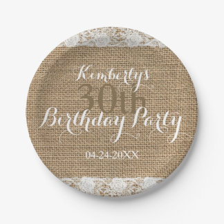 Romantic Lace burlap 30th Birthday Paper Plates