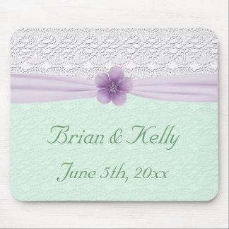 Romantic Lace Flower Mint Green Lavender Keepsake Mouse Pad