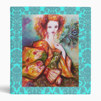 ROMANTIC LADY AND PEACOCK FEATHER,Teal Blue Damask 3 Ring Binder