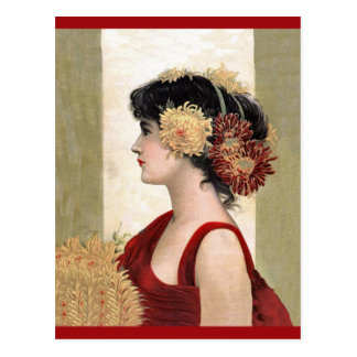 Romantic Lady in Red Postcard