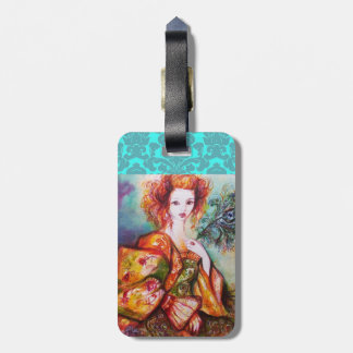 ROMANTIC LADY WITH PEACOCK FEATHER DAMASK MONOGRAM LUGGAGE TAG