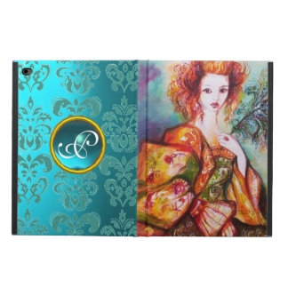 ROMANTIC LADY WITH PEACOCK FEATHER Teal Damask Powis iPad Air 2 Case