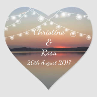Romantic lake wedding heart sticker