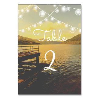 Romantic lake wedding table card with lights