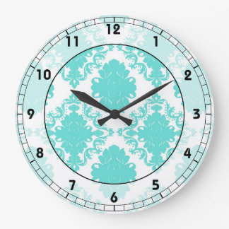 romantic light aqua blue on white elegant damask large clock