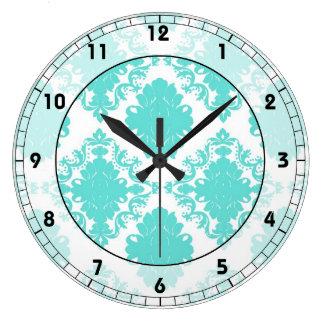 romantic light aqua blue on white elegant damask large clock