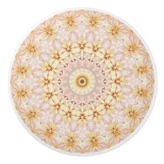 Romantic Light Pink and Yellow Floral  Mandala Ceramic Knob