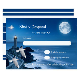Romantic Lighthouse Nautical Wedding RSVP Card