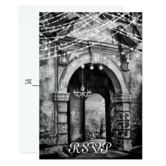 Romantic Lights and Gothic Archway Wedding RSVP Card