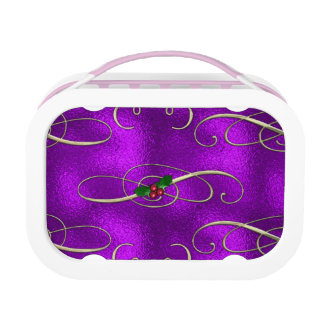 Romantic Lilac Christmas Swirls Lunch Box
