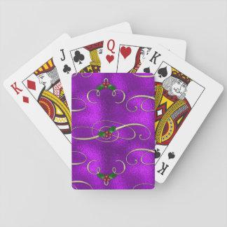 Romantic Lilac Christmas Swirls Playing Cards
