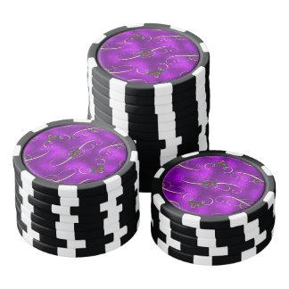Romantic Lilac Christmas Swirls Poker Chips