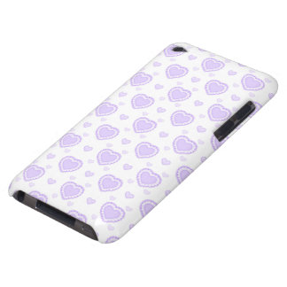 Romantic Lilac & White Hearts Barely There iPod Cases