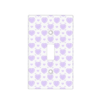 Romantic Lilac & White Hearts Light Switch Cover